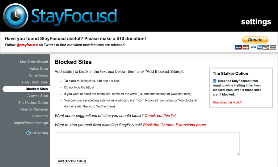 Screenshot of StayFocusd.