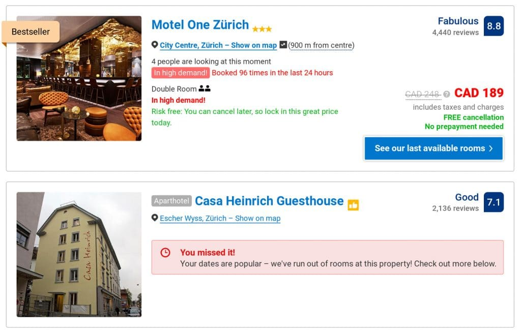 A screenshot of what the fear of missing out looks like on a booking website.
