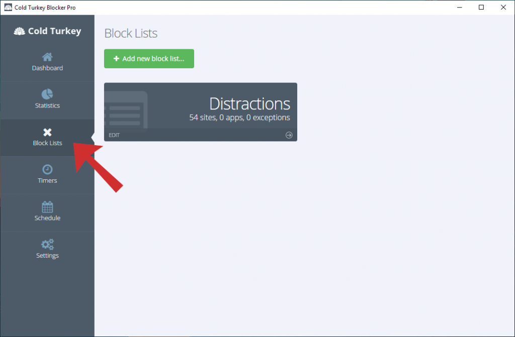 Screenshot of the Block Lists tab.